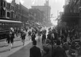 1917 Elks Parade, with the Colonial Theatre entrance draped in the Union Jack