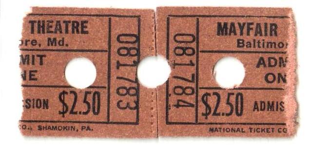 1960s Mayfair ticket stubs