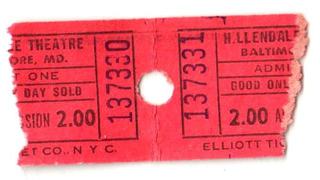 1960s Hillendale Theatre ticket stub pair