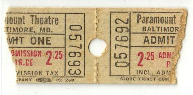 1960s Paramount Theatre ticket stub pair