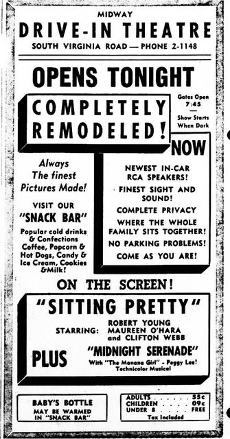 June 4th, 1948 grand opening ad as Midway Drive-In