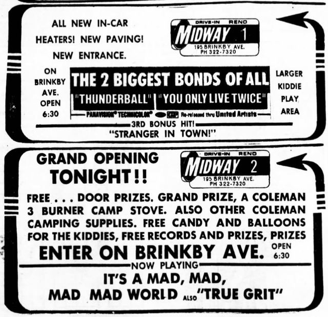 February 10th, 1971 grand opening ad as a twin drive-in