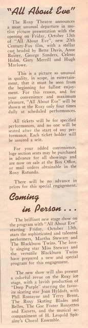 NYC ROXY from Sep 29th 1950 program flyer anouncing ALL ABOUT EVE premiere