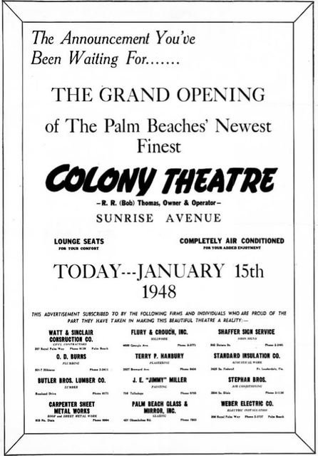 January 15th, 1948 grand opening ad