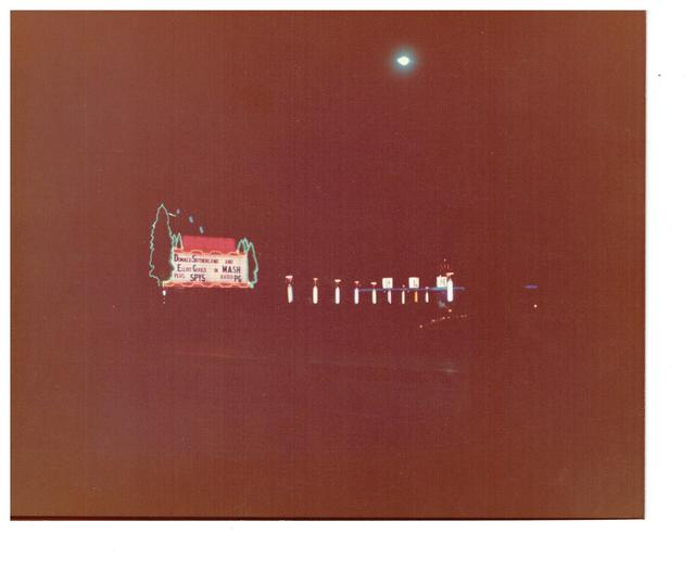Third sequence neon marquee at pines Drive-in theatre