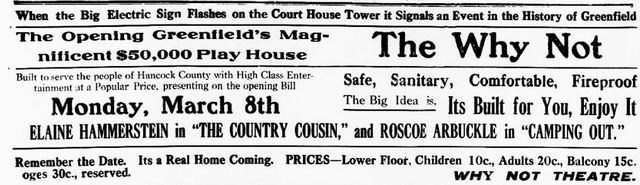 March 5th, 1920 grand opening ad as Why Not