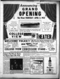 College View Drive In Theater Grand Opening April 3,1952
