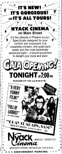 August 30th, 1972 grand opening ad as Nyack Cinema