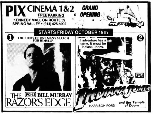 October 19th, 1984 grand opening ad as Pix Cinema