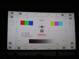 <p>The OLS's imperfect projection alignment demonstrated on a test card, taken after a LFF screening of Carol.</p>