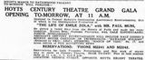 January 25th, 1938 grand opening ad as Century
