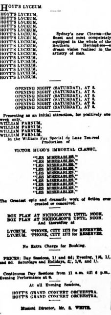 June 8th, 1918 grand opening ad as a cinema by Hoyt's