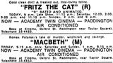 June 29th, 1973 grand opening ad as Academy Twin