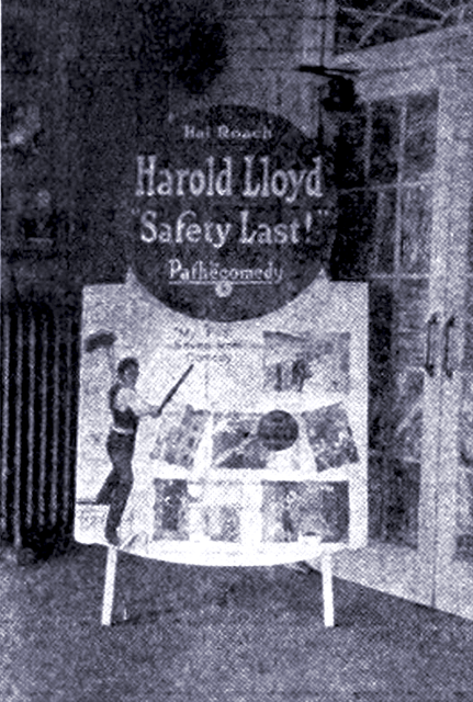 "Chillicothe (MO) United States  city images : The Strand in Chillicothe with DIY standee in 1923 for ""Safety Last ..."