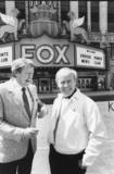 Undated photo of Tom Poston & Tim Conway in front of the Fox.