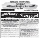August 31st, 2012 grand opening ad as Sundance Sunset cinemas