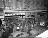 Crowd waiting to see MALE AND FEMALE, Theatre Royal, Perth, 1950s