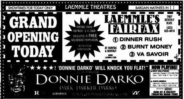 November 2nd, 2001 grand opening ad