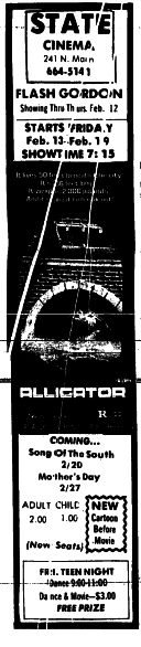State Cinema ad from Mooresville Tribune 2/11/1981
