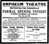 September 30th, 1912 grand opening ad