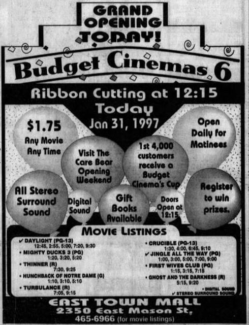 Budget Cinemas East Town Mall In Green Bay Wi Cinema Treasures