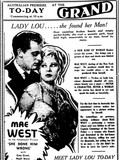 Mae West in SHE DONE HIM WRONG at Perth's Grand Theatre