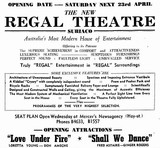 Perth's Regal Theatre opened on 23rd April 1938