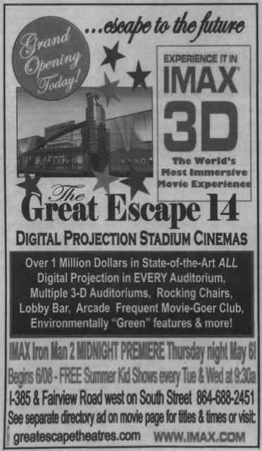 April 30th, 2010 grand opening ad as Great Escape.