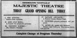 March 24th, 1913 grand opening ad as Majestic