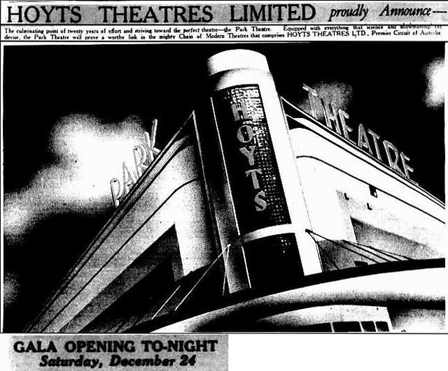 Hoyts Park Theatre, Albert Park, 24 December 1938 opening