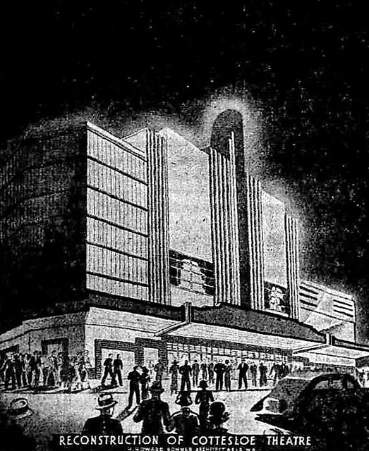 Architect's sketch of proposed Art Deco make-over of the Cottesloe Theatre, January 1937