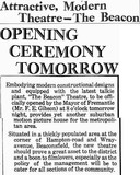 Extract from a news report of the Beacon Theatre's opening