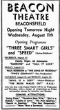 Press ad for the Beacon Theatre's opening programme, August 1937