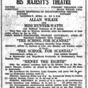 Re-opening programme, 19th April 1930