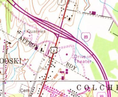 Topographic map showing the location of the drive-in.