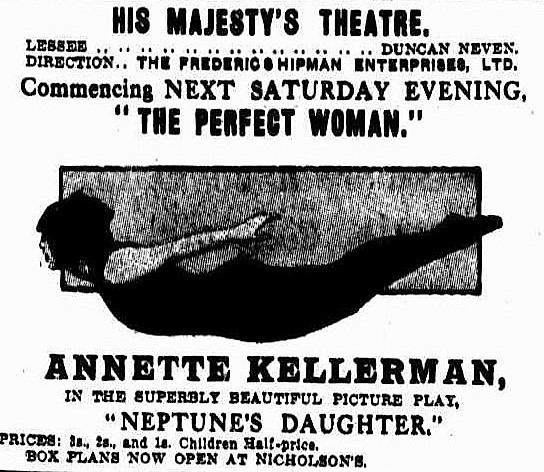 Annette Kelleman in NEPTUNE'S DAUGHTER at His Majesty's in September 1915