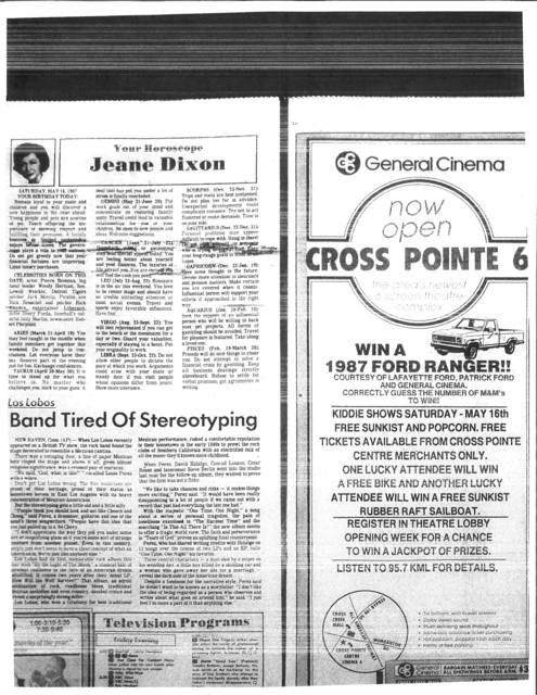 GENERAL CINEMA CROSS POINTE CINEMA 6 opening May 15, 1987