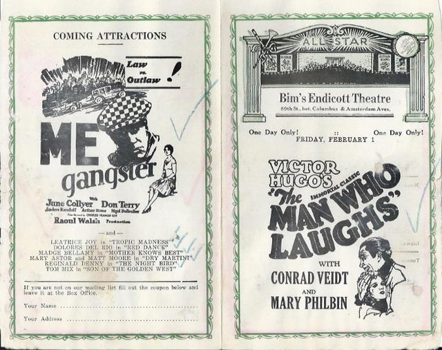 Bim's Endicott Theatre program from January 27, 1929