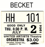 "RESERVED SEAT TICKET STUB ""BECKET"""