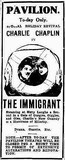 Charlie Chaplin in THE IMMIGRANT, Pavilion Theatre, 6th May 1918