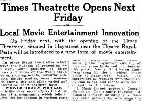News report of the Times Theatrette opening