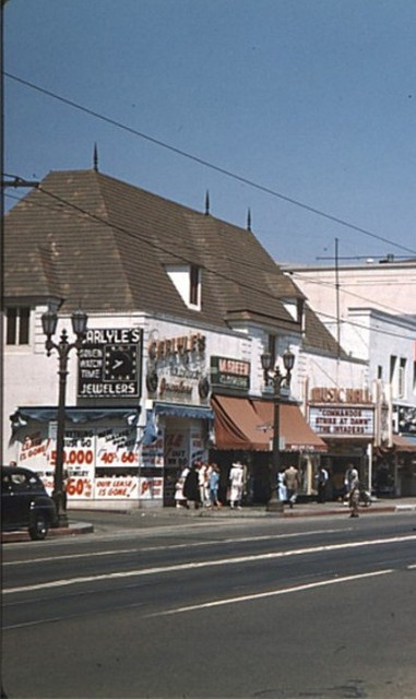 Hollywood Music Hall Theatre exterior around 1948