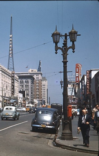 Iris Theatre and across the street the nearby Warner's Hollywood Theatre around 1948