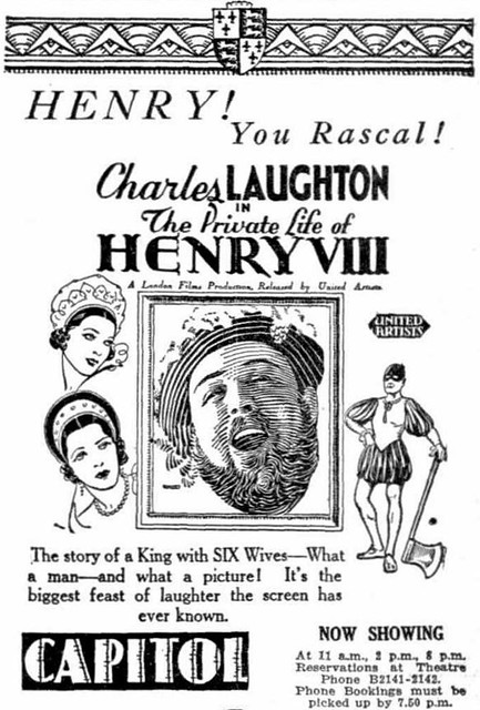 Laughton's HENRY VIII at the CAPITOL in August 1934