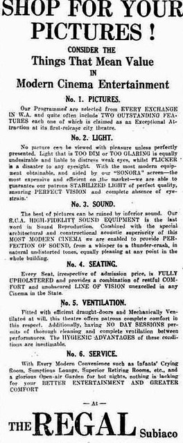Regal Theatre ad in the Movie Supplement of the Sunday Times, 13th August 1939