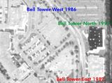 1994 aerial showing the three Bell Tower Cinemas