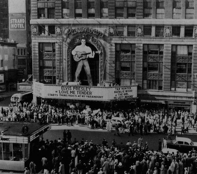 "Paramount Theatre in Times Square ""Love Me Tender"" sign"