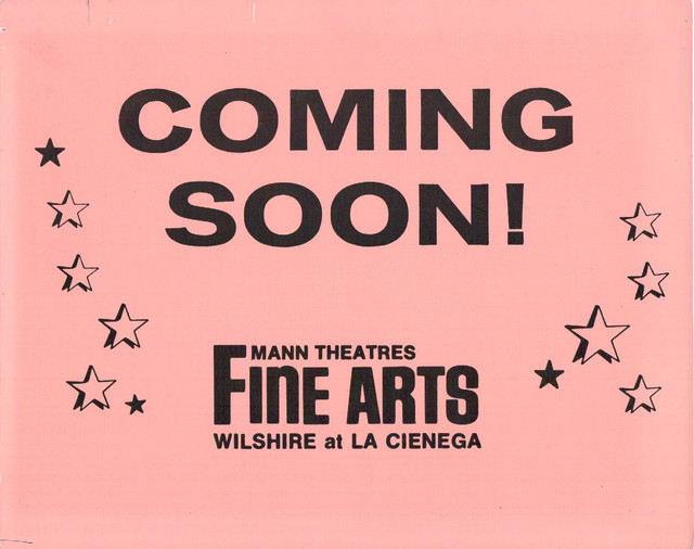 "Mann's Fine Arts Theatre ""Coming Soon"" Front of house card."