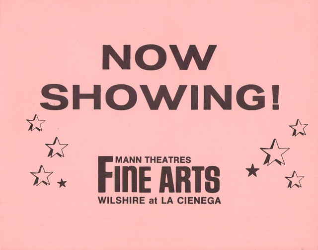 "Mann's Fine Arts Theatre ""Now Showing"" Front of house card."