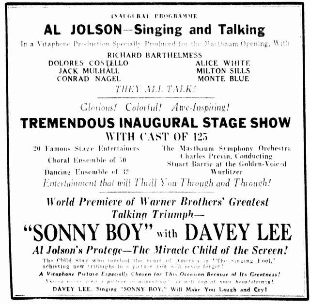 February 28th, 1929 grand opening ad program
